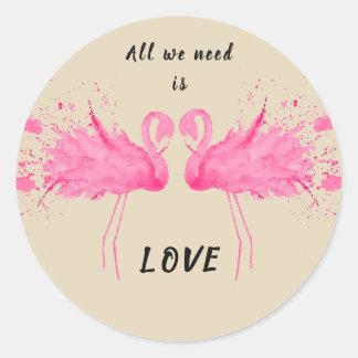 Love Flamingo Description Classic Round Sticker