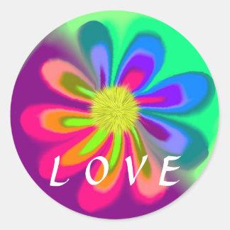 Love Flower Classic Round Sticker