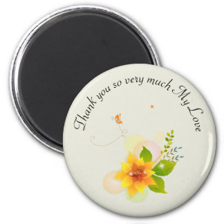Love Flower Illustration  Round Magnet