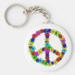 Love Flower Peace Sign Basic Round Button Key Ring