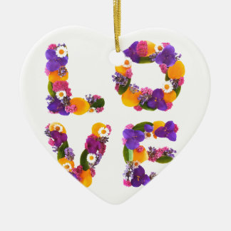 Love Flowers - Flower Typography Ceramic Heart Decoration