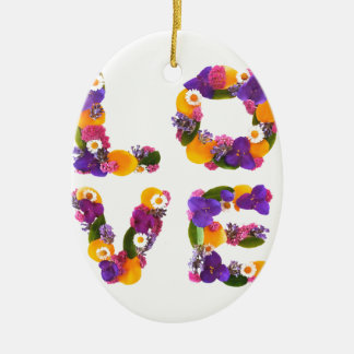 Love Flowers - Flower Typography Ceramic Oval Decoration