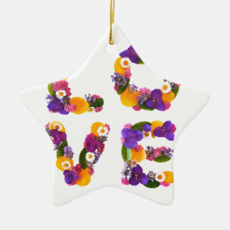 Love Flowers - Flower Typography Ceramic Star Decoration