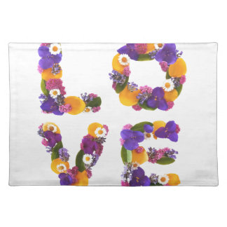 Love Flowers - Flower Typography Place Mats