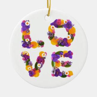 Love Flowers - Flower Typography Round Ceramic Decoration