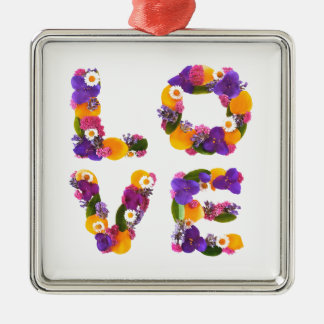 Love Flowers - Flower Typography Silver-Colored Square Decoration