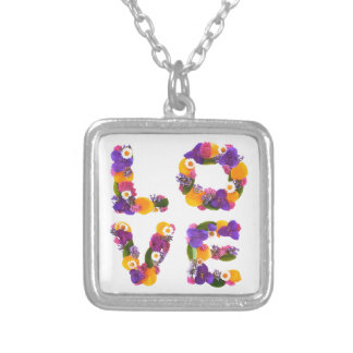 Love Flowers - Flower Typography Silver Plated Necklace