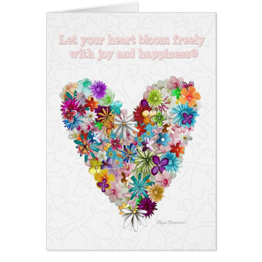 Love Flowers Heart Quote Colourful Greeting Card