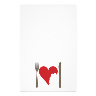 Love food, love Heart Personalised Stationery