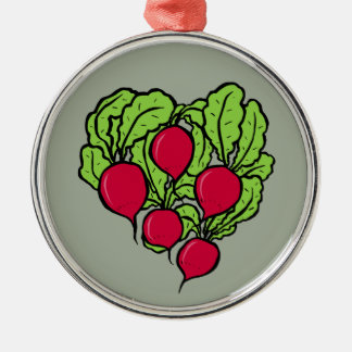 Love for Radishes Silver-Colored Round Decoration