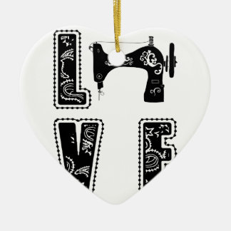 love for sewing ceramic ornament