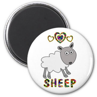 Love for Sheep 6 Cm Round Magnet