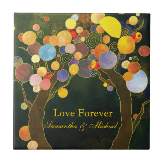 """""""Love Forever"""" Love Trees Wedding Anniversary Gift Small Square Tile"""