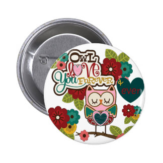 love forever owl buttons