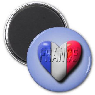 Love France 6 Cm Round Magnet