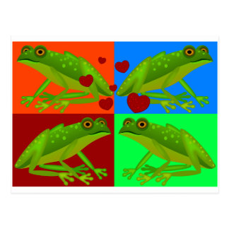 Love Frogs Patchwork Postcard
