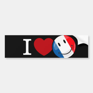 Love From France Smiling Flag Bumper Sticker