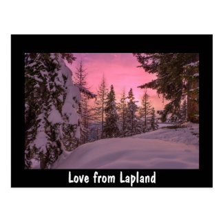 Love from Lapland sunset postcard