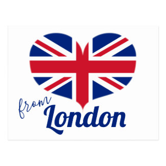 Love from London | Heart Shaped UK Flag Union Jack Postcard