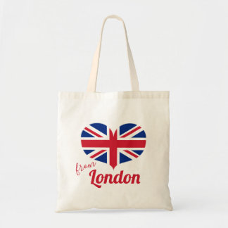 Love from London | Heart Shaped UK Flag Union Jack Tote Bag