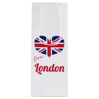 Love from London | Heart Shaped UK Flag Union Jack Wine Gift Bag