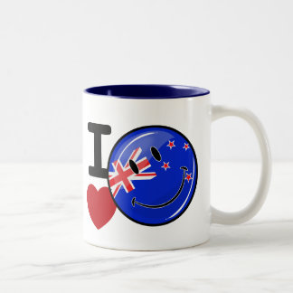 Love From New Zealand Smiling Flag Two-Tone Coffee Mug