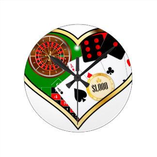 Love Gambling Round Clock