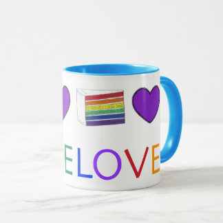 LOVE Gay Pride LGBT Rainbow Layer Cake Slice Mug