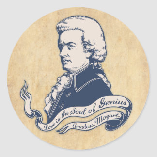 Love = Genius -Mozart Classic Round Sticker