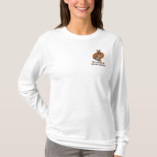 Love German Shepherd Embroidered Long Sleeve T-Shirt