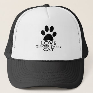 LOVE GINGER TABBY CAT DESIGNS TRUCKER HAT
