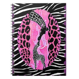 Love Giraffe Pink Animal Print Spiral Notebook