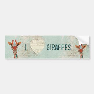 Love Giraffes Bumper Sticker Car Bumper Sticker