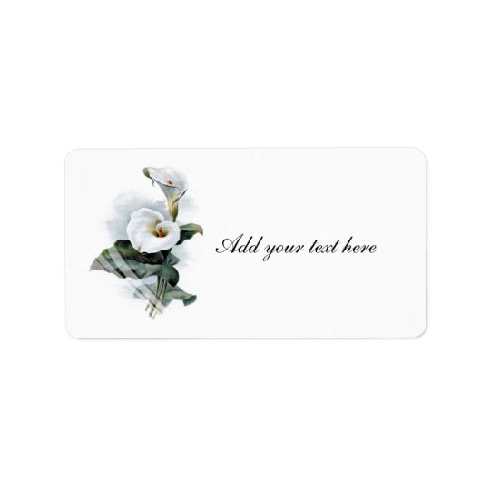 Love Glistens/Elegant White Calla Lily Wedding Label