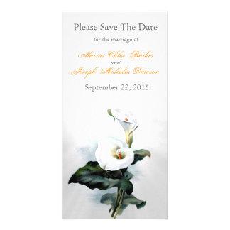 Love Glistens/Elegant White Calla Lily Wedding Personalised Photo Card