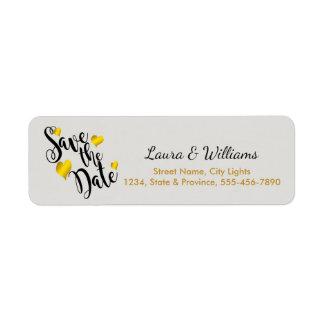 Love Gold Save The Date Heart Shape Brushed Return Address Label