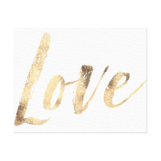 Love Gold White Inspirational Quotes Canvas Print