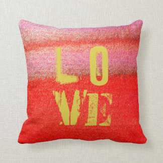 Love Golden Red Abstract Watercolor Cotton Pillow