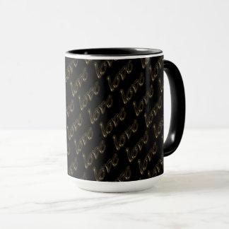 Love Golden Text Typography Black Gold Elegant Mug