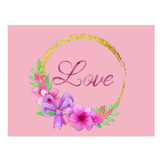 Love Golden Wreath Pink Watercolor Flowers Postcard