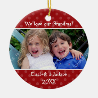 Love Grandma Red Polka Dot Christmas Photo Round Ceramic Decoration