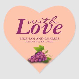 Love & Grapes Heart-Shaped Wedding Envelope Seals