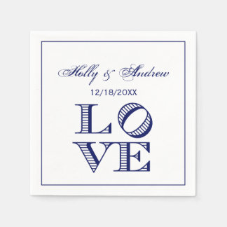 LOVE Graphic Text - Blue Paper Napkin