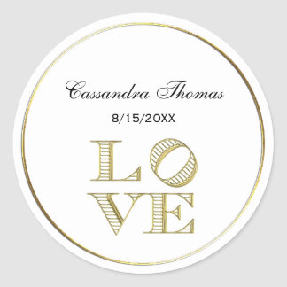 LOVE Graphic Text - Faux Gold Classic Round Sticker