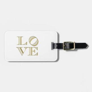LOVE Graphic Text - Faux Gold Luggage Tag