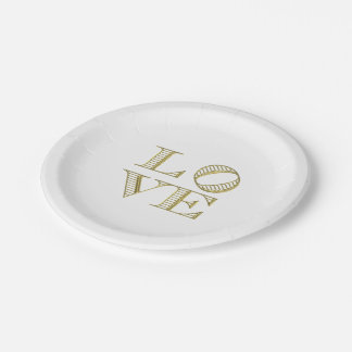 LOVE Graphic Text - Faux Gold Paper Plate
