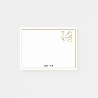 LOVE Graphic Text - Faux Gold Post-it Notes