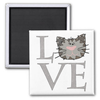 Love, Gray Cat Face Magnet