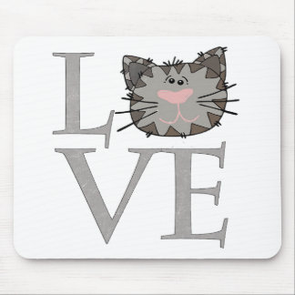 LOVE, Gray Cat Mouse Pad