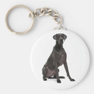 Love Great Dane Puppy Dog Basic Round Button Key Ring